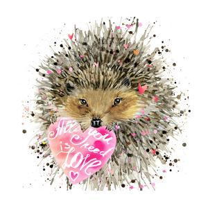 Watercolor Hedgehog. Hedgehog Illustration with Valentines Heart, Splash Watercolor Textured Backgr by Fayankova Alena