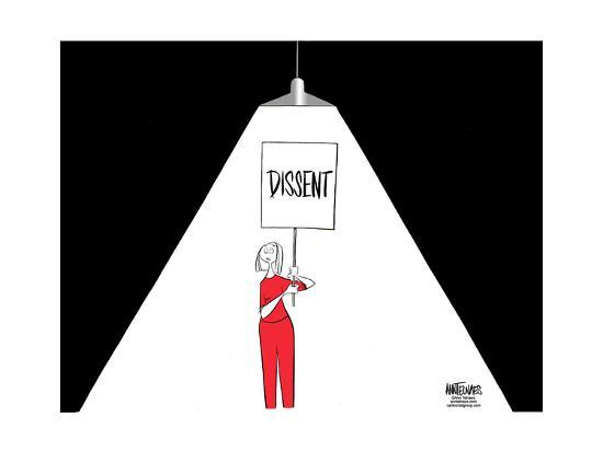 "FBI.  Dissent.  (A light used during interrogations, shines on a woman carrying a ""Dissent"" sign.)-Ann Telnaes-Art Print"