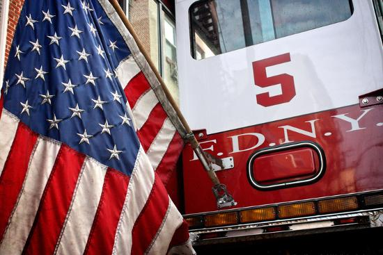 FDNY Truck with American Flag--Photo