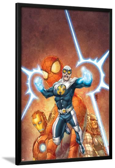 Fear Itself: Youth in Revolt No.4 Cover: Gravity, Spider-Man, Thor, and Iron Man-Giuseppe Camuncoli-Lamina Framed Poster