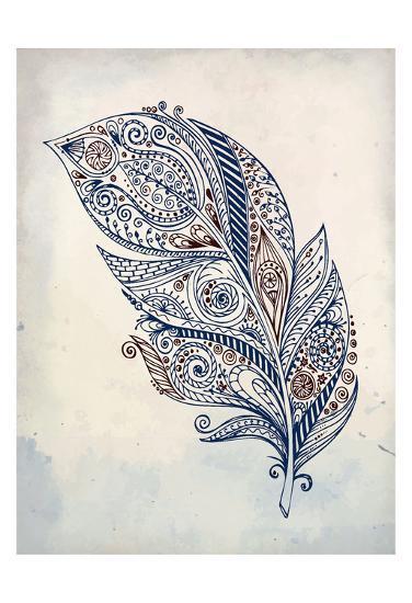 Feather Henna 1-Kimberly Allen-Art Print