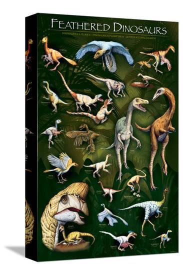 Feathered Dinosaurs I--Stretched Canvas Print