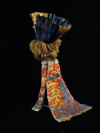 Feathered Fabric Headdress, from Peru, Chimu Culture--Giclee Print