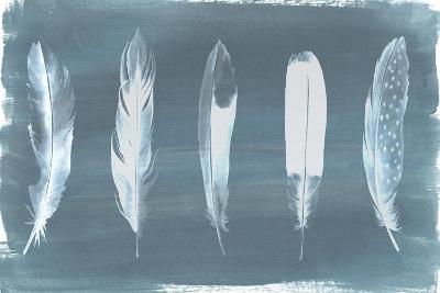 Feathers on Dusty Teal I-Grace Popp-Art Print