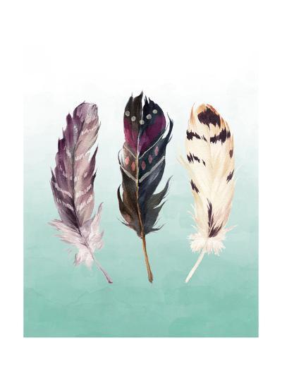 Feathers on Teal-Tara Moss-Art Print