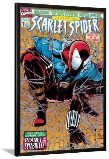 Featuring Scarlet Spider Cover: Scarlet Spider Crouching--Lamina Framed Poster
