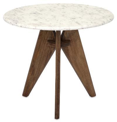 Febe Tall Marble and Wood Table--Home Accessories