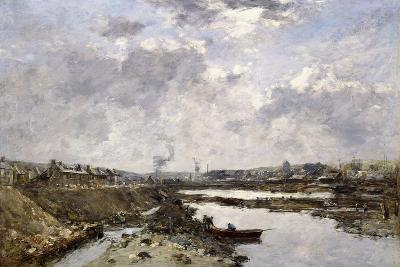 Fecamp, L'Arriere-Port En Construction, 1883-Eug?ne Boudin-Giclee Print