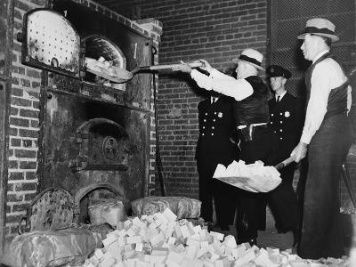 Federal Bureau of Narcotics Agents Shovel Confiscated Heroin Blocks into Incinerator in 1936--Photo