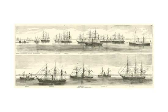 Federal Fleet at Hampton Roads, December 1864--Giclee Print