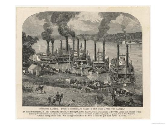 Federal Steamboats at Pittsburgh Landing are Used by Major General Grant as His Headquarters--Giclee Print