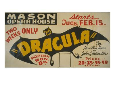 Federal Theatre Project Presentation of Dracula at the Mason Opera House, Showing a Large Bat, 1938--Photo