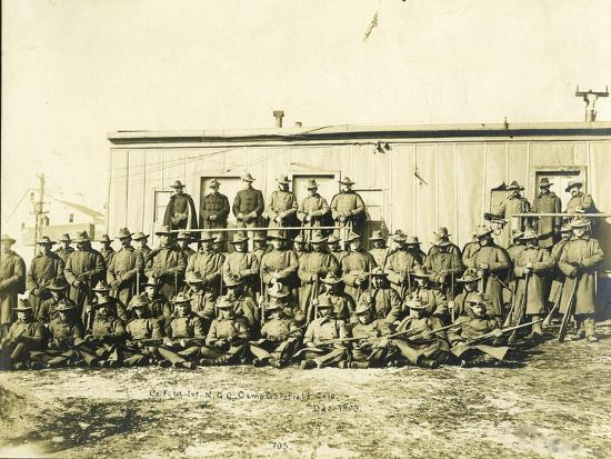 """Federal Troops Brought In To Put Down Strikes In Goldfield, Co. """"F"""" 1st Infantry NG Of Colorado-R.G. Leonard-Art Print"""