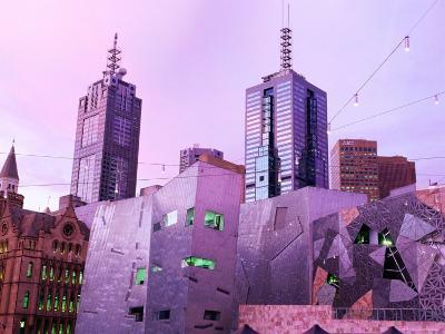Federation Square at Dusk, Melbourne, Victoria, Australia-John Banagan-Photographic Print