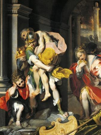 Aeneas and Anchises, Detail from Aeneas Escaping from Troy, 1598