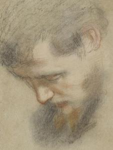 Head of a Bearded Man in Profile, Bent, Looking Down by Federico Barocci