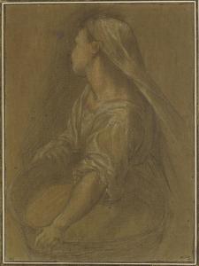 Jeune femme tenant une bassine à mi-corps la tête tournée vers l'arrière by Federico Barocci