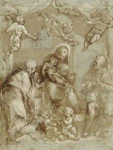 La Sainte Famille servie par les anges by Federico Barocci