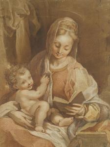 La Vierge assise tenant l'Enfant Jésus nu et un livre ouvert by Federico Barocci