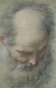 Old Bald Head and Bearded, Nearly Face, Looking Down by Federico Barocci