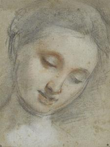Tête de femme inclinée à droite, regardant vers le bas by Federico Barocci