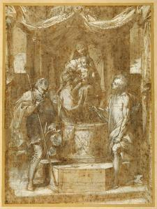 The Virgin and Child Enthroned under a Canopy, with Sts Roch and Sebastian by Federico Barocci