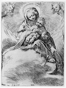 The Virgin and Child in the Clouds (Engraving) by Federico Barocci