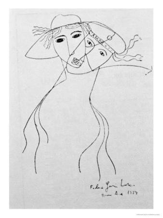 Drawing to Illustrate One of His Own Poems, Made in Buenos Aires, 1919 by Federico Garcia Lorca