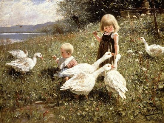 Feeding Geese, 1890-Alexander Koester-Giclee Print
