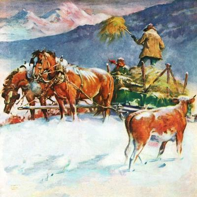 """Feeding Herd in Winter,""March 1, 1945-Matt Clark-Giclee Print"