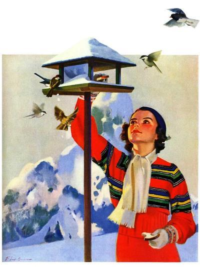 """Feeding the Birds,""February 1, 1936-Jack Murray-Giclee Print"