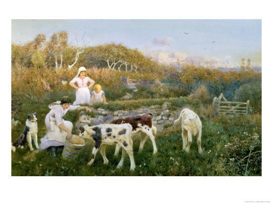 Feeding the Calves-Thomas J. Lloyd-Giclee Print