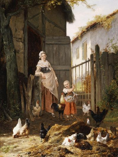Feeding the Chickens, (Maes and Jan David Col, 1822-1900)-Eugene Remy Maes-Giclee Print