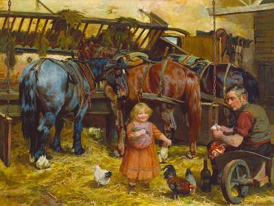 Feeding the Chickens-Arthur Elsley-Premium Giclee Print