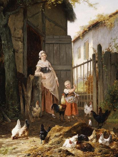 Feeding the Chickens-Eugene Remy Maes-Giclee Print