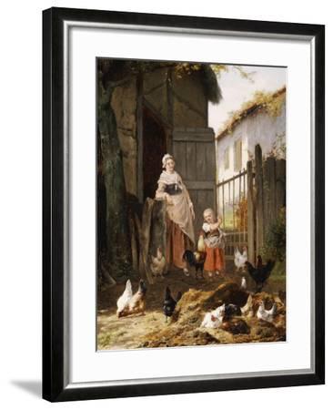 Feeding the Chickens-Eugene Remy Maes-Framed Giclee Print