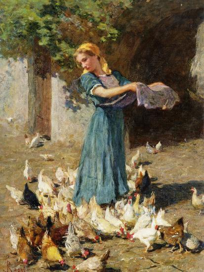 Feeding the Chickens-Luigi Rossi-Giclee Print