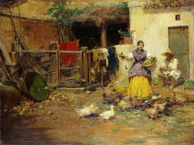 Feeding the Chickens-Benlliure y Gil Jose-Giclee Print