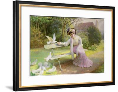 Feeding the Doves-Edmond Alphonse Defonte-Framed Giclee Print
