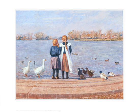 Feeding the Ducks-Paula Nightingale-Art Print
