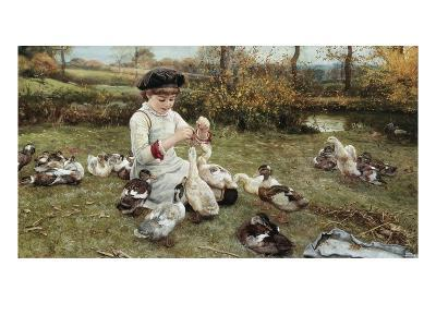 Feeding the Ducks-Edward Killingworth Johnson-Giclee Print