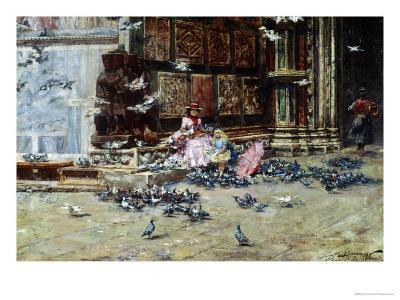 Feeding the Pigeons, St. Mark's Square, Venice-Lieven Herremans-Giclee Print