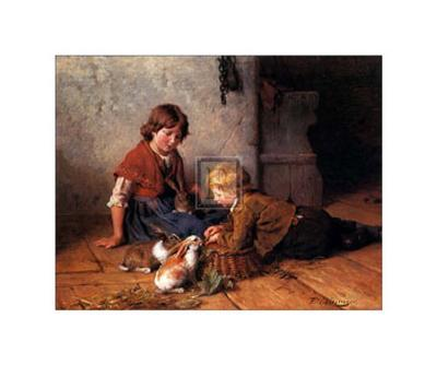 Feeding the Rabbits-Felix Schlesinger-Art Print
