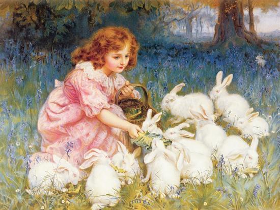 Feeding the Rabbits-Frederick Morgan-Giclee Print