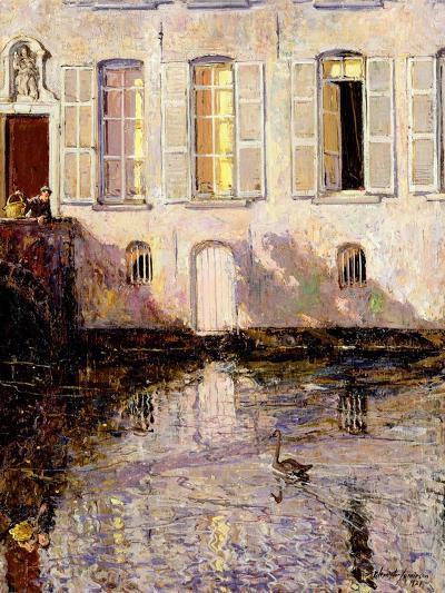 Feeding the Swans, Bruges, 1921-Alexander Jamieson-Giclee Print