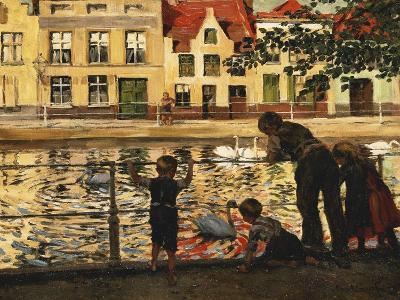Feeding the Swans-Paul Meyerheim-Giclee Print