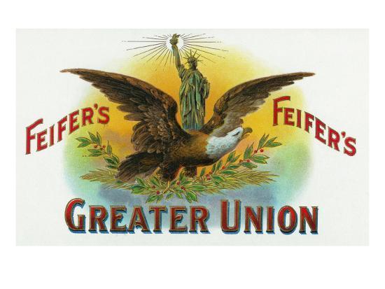 Feifer's Greater Union Brand Cigar Inner Box Label-Lantern Press-Art Print