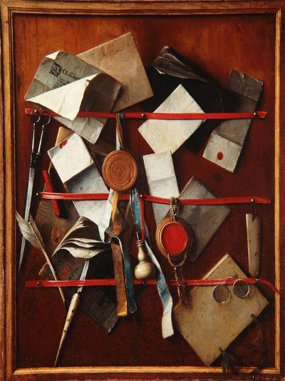 Feigned Letter Rack with Writing Implements, C.1655-Samuel van Hoogstraten-Giclee Print