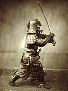 Samurai with Raised Sword, circa 1860 by Felice Beato