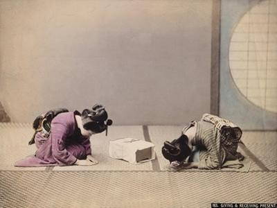 Two Japanese Women Presenting and Accepting a Gift, C.1867-90